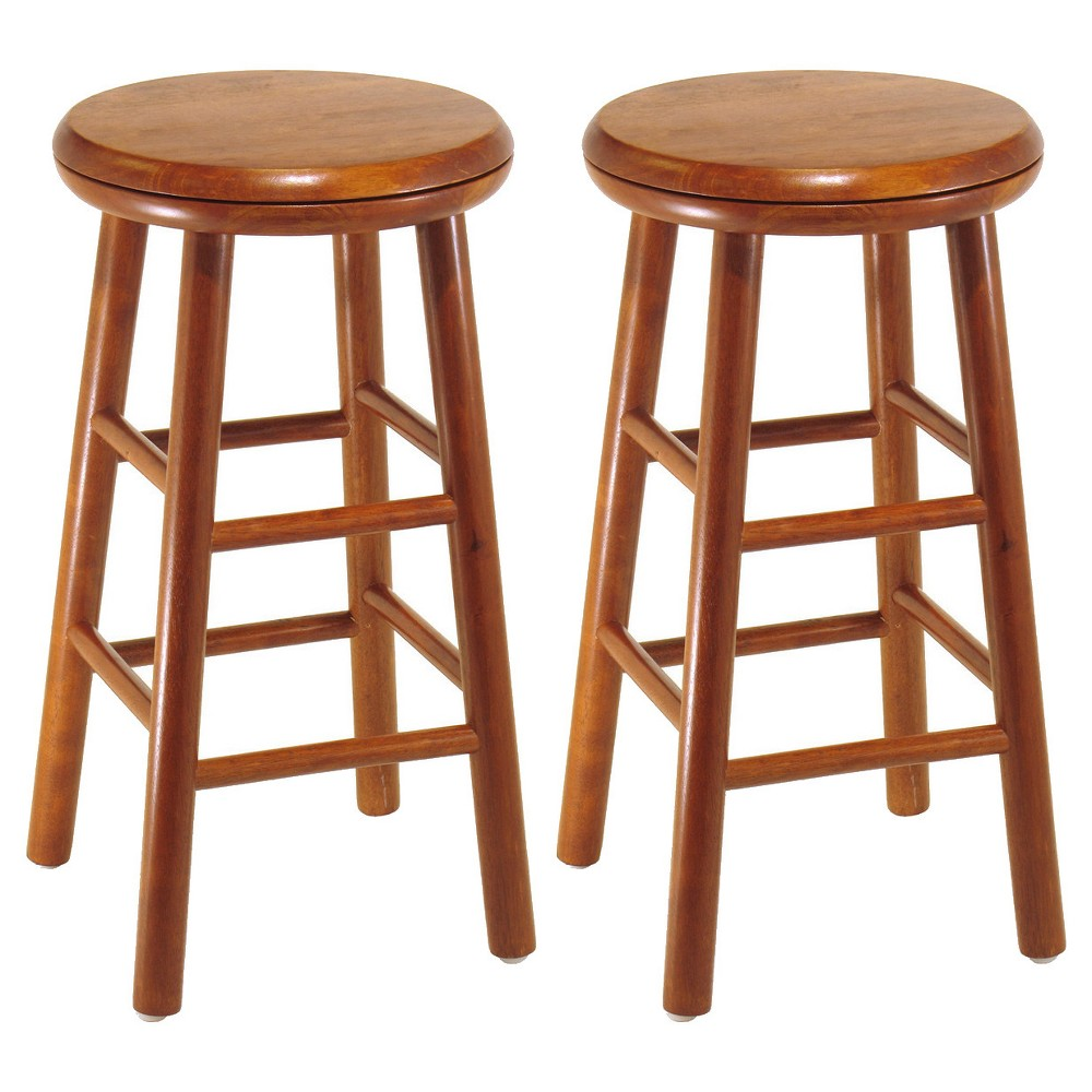 24Oakley 2pc Swivel Seat Bar Stool Set - Cherry (Red) - Winsome
