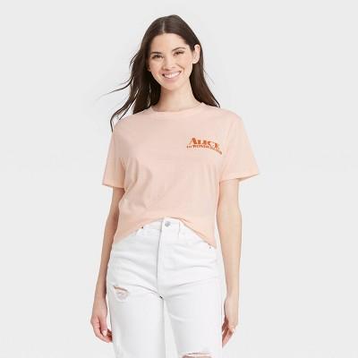 Women's Disney Alice in Wonderland Short Sleeve Graphic Boyfriend T-Shirt - Peach