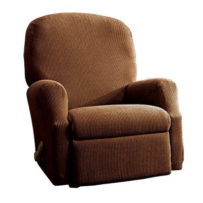 Stretch Rib Recliner Slipcover Oar Brown - Sure Fit