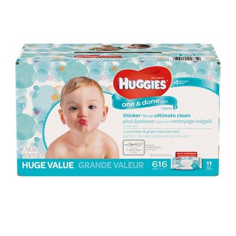 Huggies One Amp Done Baby Wipes Cucumber Green Tea 616ct