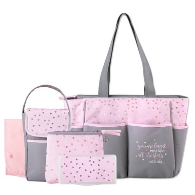 Baby Essential Kisses & Hearts 5-in-1 Tote - Pink