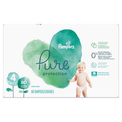 Pampers Pure Protection Disposable Diapers Giant Pack - Size 4 (80ct)