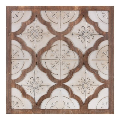 "32"" x 34"" Antique and Wood Quatrefoil Medallion Framed Wall Art Metal/Brown - Patton Wall Décor"