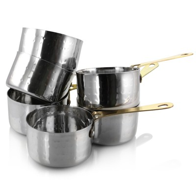 Gibson Home Lannister 6 Piece 3 Inch Mini Stainless Steel Sauce Pan Cookware Serveware Set
