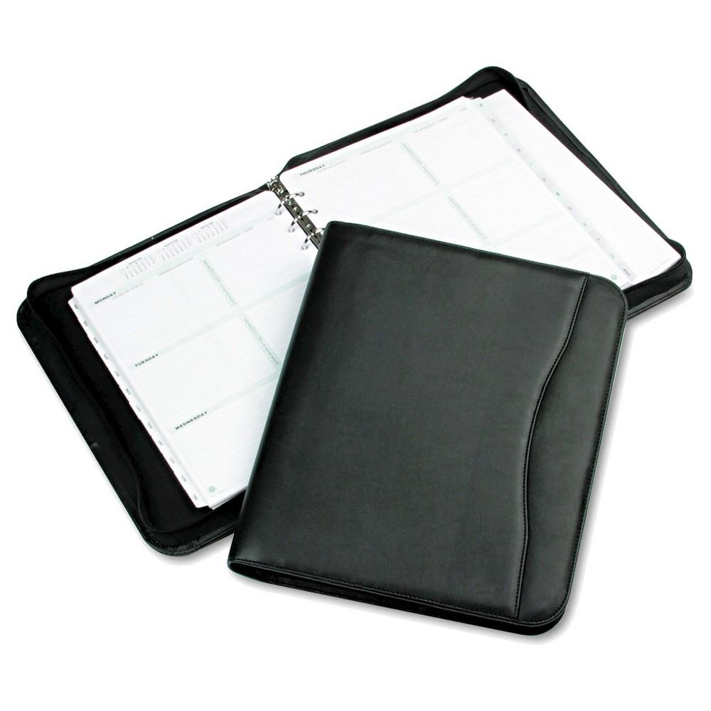 Day-Timer Avalon Simulated Leather Starter Set, 8 1/2 x 11, Black, Black/White