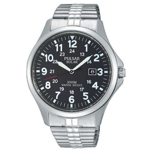 Men's Pulsar Solar Expansion Watch - Silver Tone with Black Dial - PX3069 - image 1 of 1