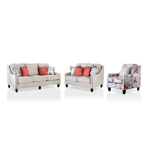 3pc Vieta Upholstered Sofa and Loveseat Set with Chair Ivory - HOMES: Inside + Out - image 1 of 4