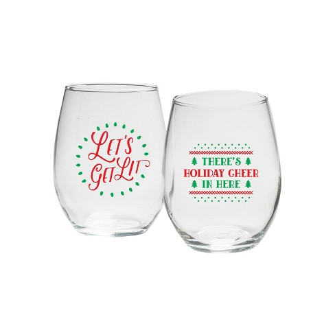 "15oz Set of 2 ""Let's Get Lit & Holiday Cheer"" Stemless Wine Glasses - Kate Aspen - image 1 of 2"