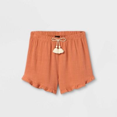 Girls' Tie Waist Ruffle Shorts - art class™
