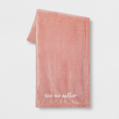 'Love One Another' Plush Throw Blanket Pink