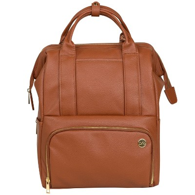 CleverMade Diaper Bag Backpack with Handles Changing Pad and Stroller Straps - Cognac