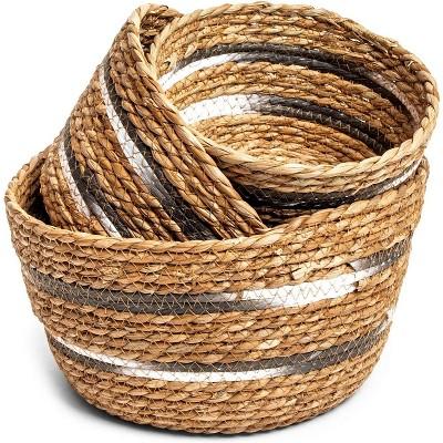 Farmlyn Creek 3-Pack Round Wicker Nesting Baskets for Storage and Organization (3 Sizes)