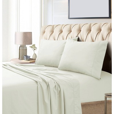 King 800 Thread Count Extra Deep Pocket Sateen Sheet Set Ivory - Tribeca Living
