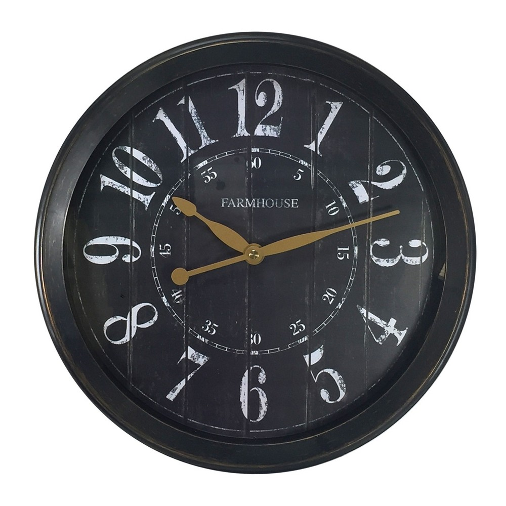 "Image of ""13"""" Round Woodgrain Face Wall Clock Black - MZB"""