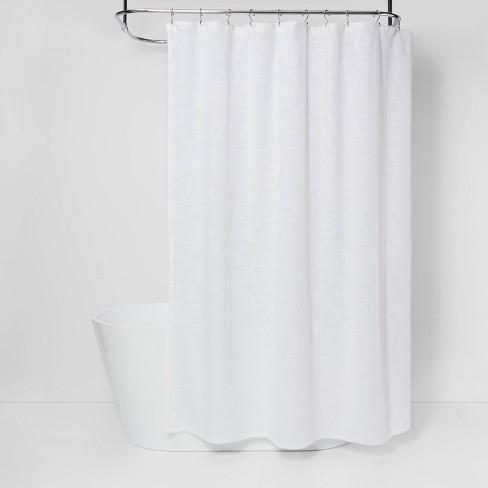 Woven Shower Curtain White Threshold, Target Bathroom Shower Curtains