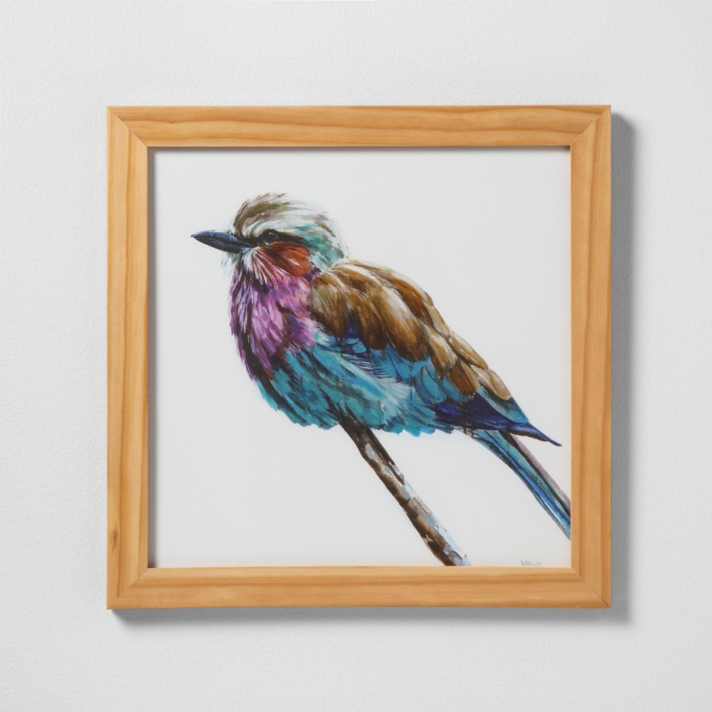 "Image of ""16"""" X 16"""" Colorful Bird Wall Art with Natural Wood Frame - Hearth & Hand with Magnolia"""