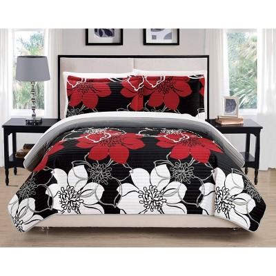 Chic Home Design Queen 3pc Chase Quilt & Sham Set Black