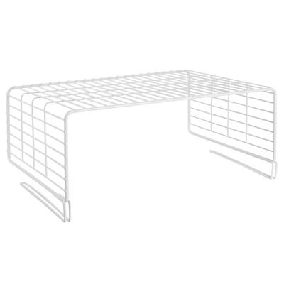 mDesign Versatile Metal Wire Closet 2-Tier Shelf Divider and Separator