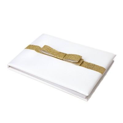 Glitter Bow Guest Book White
