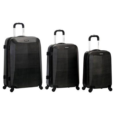 Rockland Vision 3pc Polycarbonate/ABS Luggage Set - Crocodile