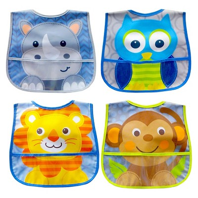 4 pack character crumb catcher water resistant bib set by Neat Solutions