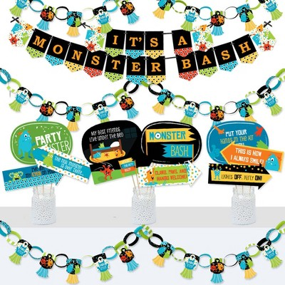 Big Dot of Happiness Monster Bash - Banner and Photo Booth Decorations - Little Monster Birthday Party or Baby Shower Supplies Kit - Doterrific Bundle