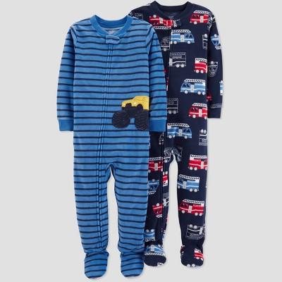 Baby Boys' Fleece Stripe Transportation Pajama Set - Just One You® made by carter's Blue 12M