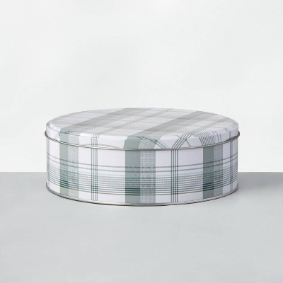 Medium Round Plaid Holiday Gift Tin Green - Hearth & Hand™ with Magnolia