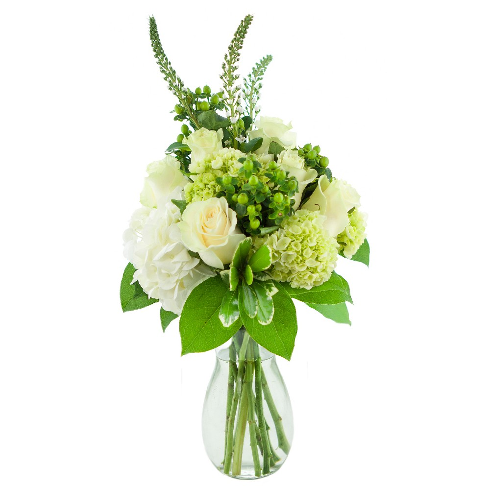 KaBloom Veronica Green Roses And Hydrangeas Fresh Flower Arrangement - with Vase