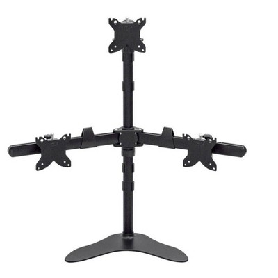 Monoprice Triple Monitor Pyramid Free Standing Desk Mount For 15-30in Monitors   Rotate 360°, Swivel ±60°, Tilt ±12°
