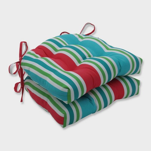 2pk Aruba Stripe Reversible Chair Pads Blue - Pillow Perfect - image 1 of 2