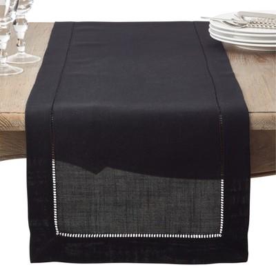 "16""x72"" Hemstitch Design Table Runner Black - Saro Lifestyle"