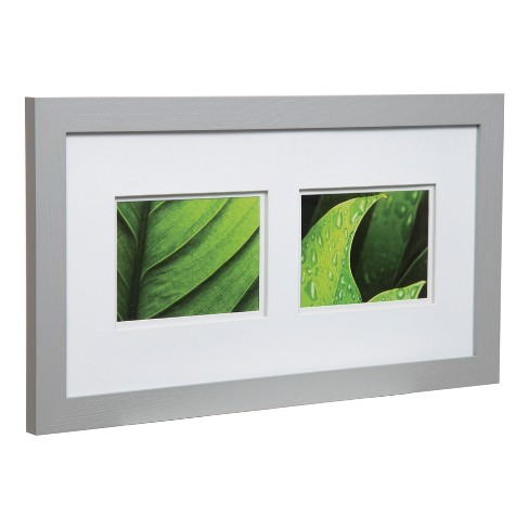 Multiple Image Frame 10x20 Wide Grey With Double Mat 2 5x7 Gallery