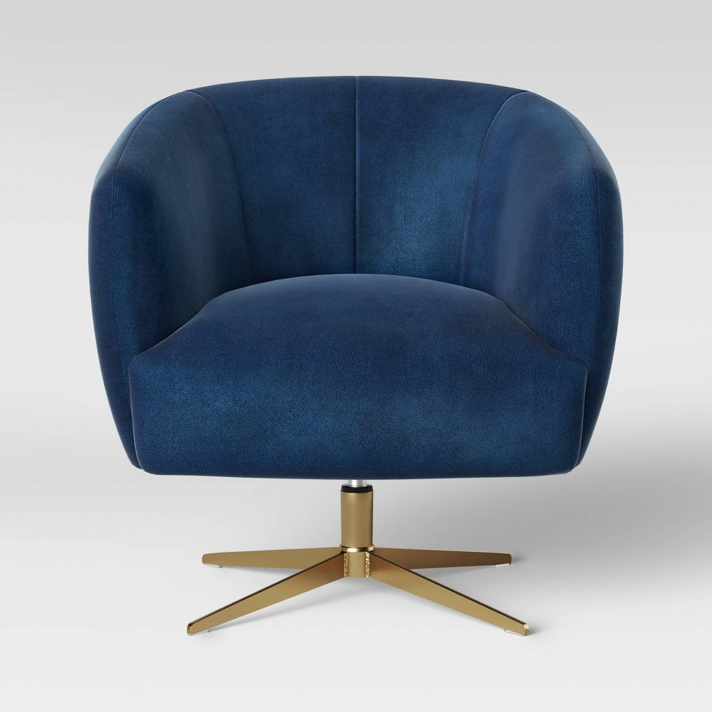 Morpho Swivel Velvet Arm Chair Navy Blue - Opalhouse