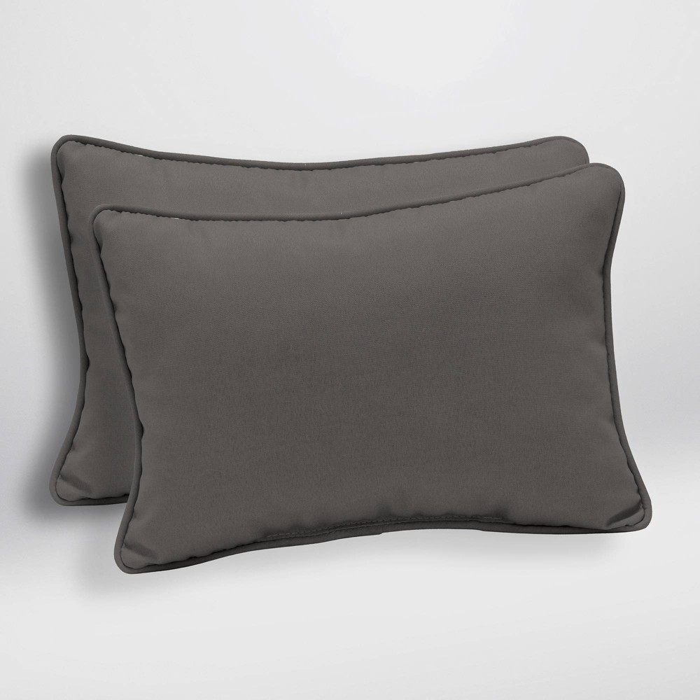 2pk Canvas Texture Oversized Outdoor Lumbar Pillows Slate (Grey) - Arden Selections