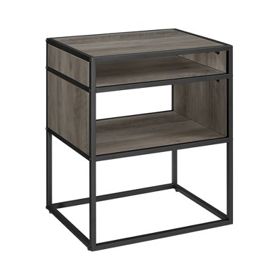20  Metal and Wood Side Table with Open Shelf Gray Wash - Saracina Home