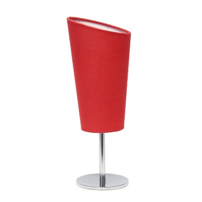 Mini Table Lamp with Angled Fabric Shade Red - Simple Designs