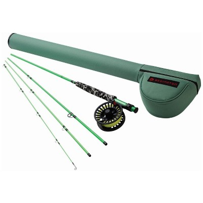 Redington 580-4 MINNOW Kids Youth Lightweight Short 8 Foot 4 Piece 5 Line Weight Fly Fishing Rod and Reel Combo, Green Camo