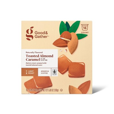 Naturally Flavored Toasted Almond Caramel Light Roast Coffee - 16ct Single Serve Pods - Good & Gather™
