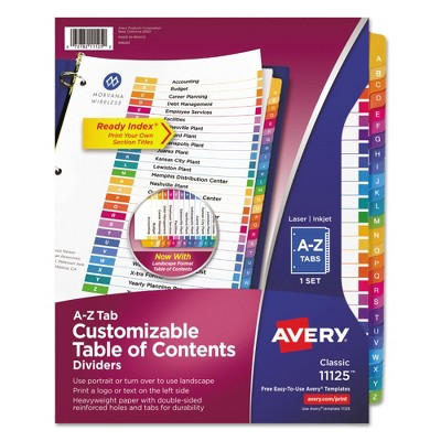 Avery Ready Index Contemporary Table/Content Divider, Title: A-Z, Multi, Letter