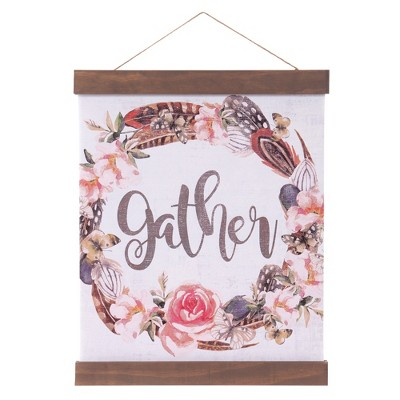 16 x20  Gather Floral Hanging Print with Wood Detail Wall Canvas White - Patton Wall Decor