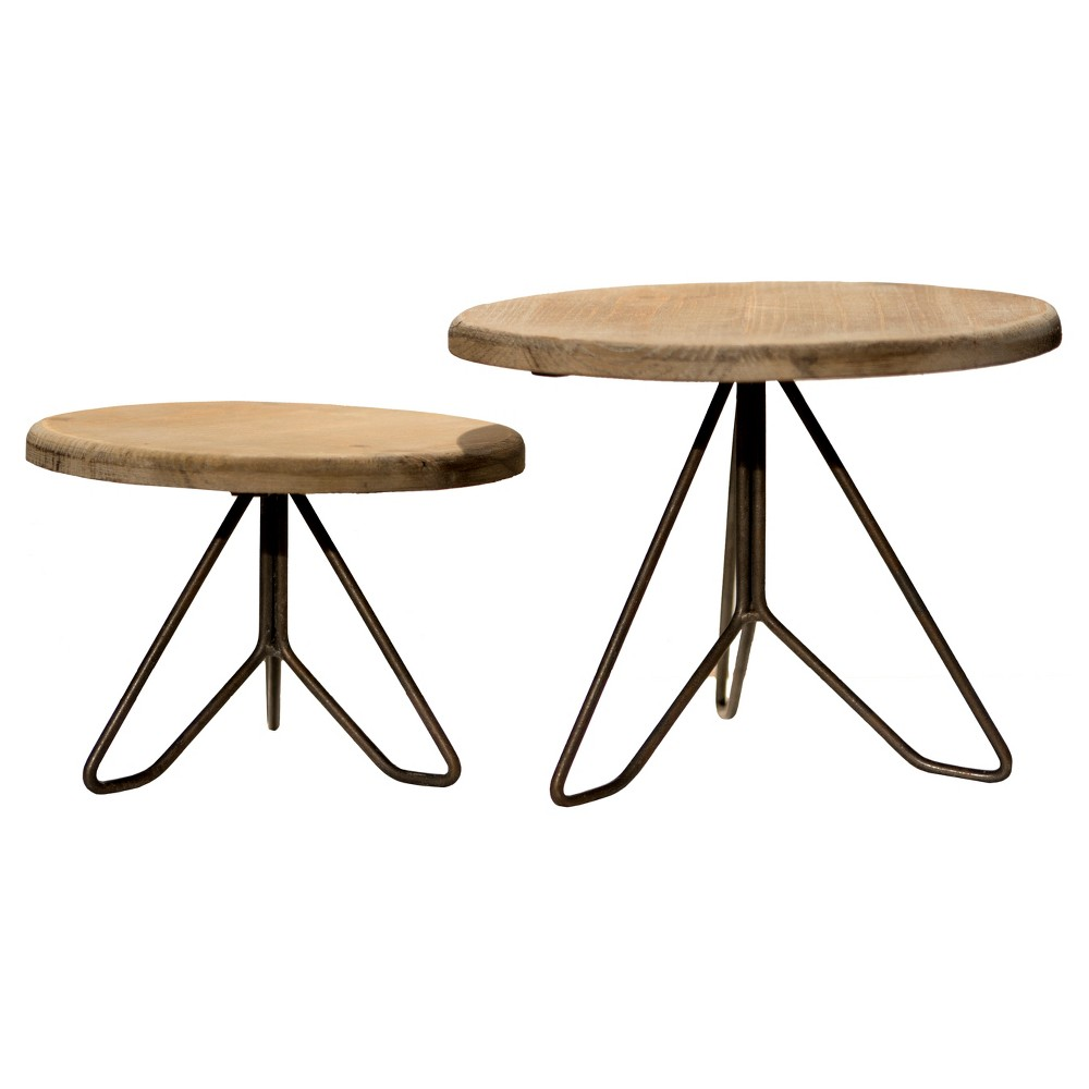Image of Wood & Metal Plant Stand Set 2pc - Vip Home & Garden, Brown