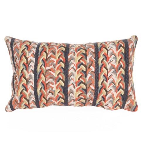 Orange Visions Iii Braided Stripe Indoor Outdoor Throw Pillow 12
