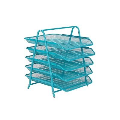 Mind Reader Desk Organizer with 5 Sliding Trays Turquoise