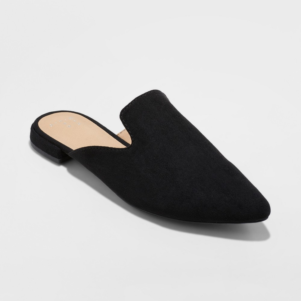 Women's Velma Slip On Pointy Toe Mules - A New Day Black 10