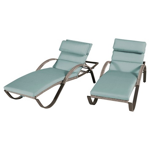 Cannes 2-Piece Wicker Patio Chaise Lounge Set - Blue - image 1 of 8