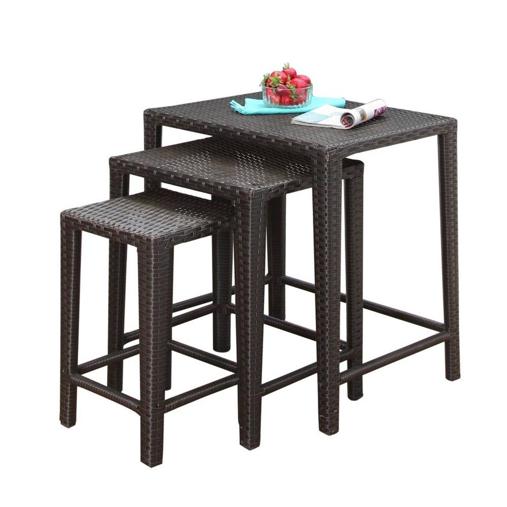 Image of Renee 3pc All-Weather Wicker Patio Tea Table Set - Espresso - Abbyson Living