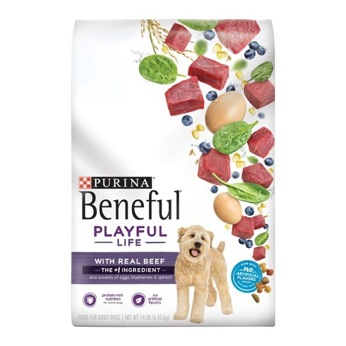 Purina Beneful Dry Dog Food Playful Life With Real Beef Accented With Egg  Blueberries & Spinach - 14lb Bag