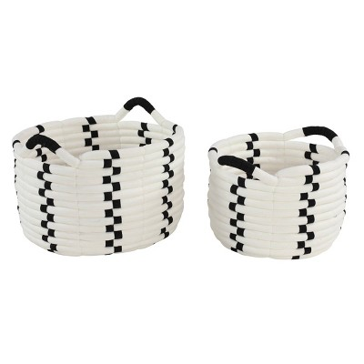 "Olivia & May 17.5""x12""x14.5""x10"" Set of 2 Large Round Checkered Cotton Rope Storage Baskets Black/White"