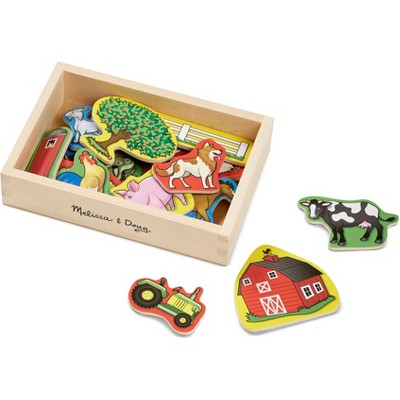 Melissa & Doug Wooden Farm Magnets with Wooden Tray - 20pc